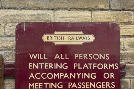 British Railways sign at Keighley and Worth Valley Railway, Keighley, West Yorshire, UK - 7th April 2018 Éditoriale