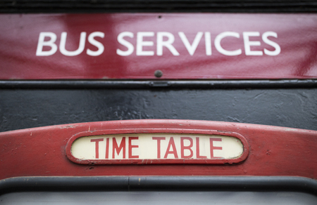 Bus services timetable sign at Keighley and Worth Valley Railway, Keighley, West Yorshire, UK - 7th April 2018