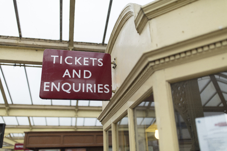Tickets sign at Keighley and Worth Valley Railway, Keighley, West Yorshire, UK - 7th April 2018