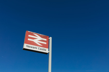 Newark Castle Railway Station, Newark, Nottinghamshire, UK, October 2018, Network Rail sign