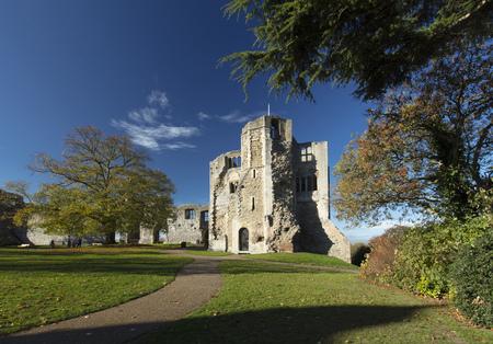 Newark Castle Gardens, Newark, Nottinghamshire, UK, October 2018 - remains of Newark Castle Stok Fotoğraf - 112569761