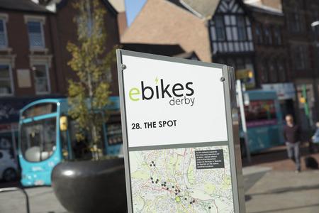 Derby, Derbyshire, UK: October 2018: ebikes Derby sign