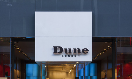 London, Greater London, United Kingdom, 7th February 2018, A sign and logo for Dune London store