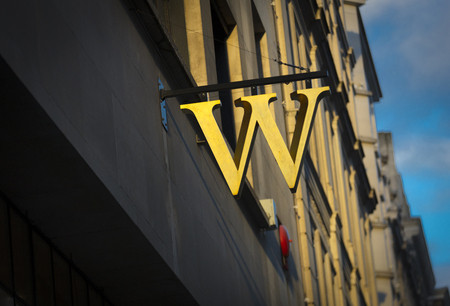 London, Greater London, United Kingdom, 7th February 2018, A sign and logo for a waterstones store Sajtókép