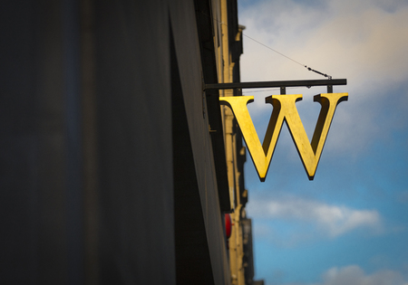 London, Greater London, United Kingdom, 7th February 2018, A sign and logo for waterstones store 写真素材 - 119034924