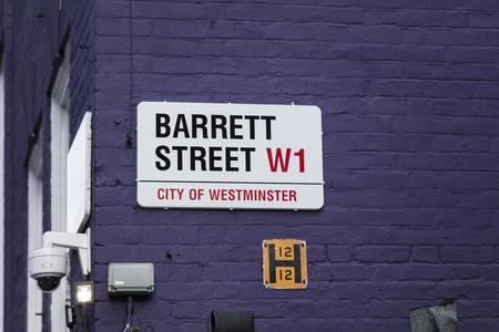 London, United Kingdom, February 7th 2019, Sign for Barrett Street Sajtókép
