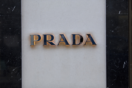 London, Greater London, United Kingdom, 7th February 2018, A sign and logo for Prada on Bond Street Editorial