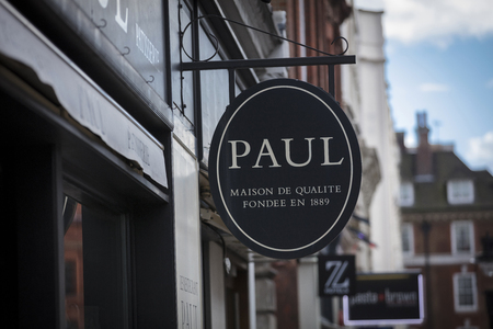 London, Greater London, United Kingdom, 7th February 2018, A sign and logo for PAUL cafe