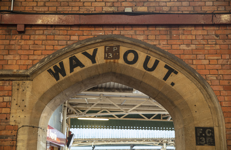 Bristol, United Kingdom, 21st February 2019, old way out signage at Bristol Temple Meads Station Editorial