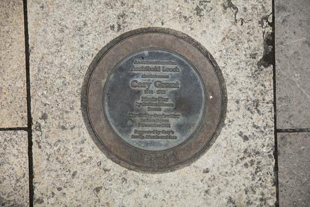 Bristol, United Kingdom, 21st February 2019, commemorative plaque for the statue of Archibald Leach aka Cary Grant