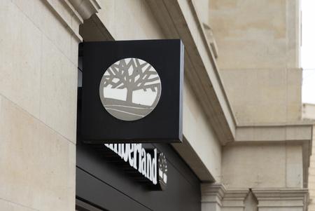 Bath, Somerset, UK, 22nd February 2019, Shop Sign for Timberland Sajtókép