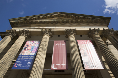 Liverpool, Merseyside. June 2014, External View of the facade and entrance of the Walker Art Gallery