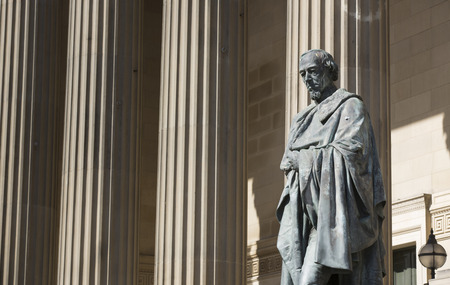 Liverpool, Merseyside, UK. June 2014, Statue and Likeness of British Prime Minister Benjamin Disraeli, Earl of Beaconsfield outside St George's Hall concert hall and law courts Editorial