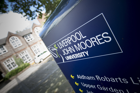 Liverpool, Merseyside, UK, 24th July 2014, a Sign for Liverpool John Moores University 報道画像