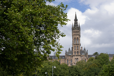 Glasgow, Scotland, 7th September 2013, the Main building and tower of the University of Glasgow at Gilmorehill Editorial