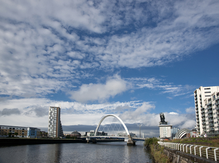 River Clyde, Glasgow, Scotland, UK, September 2013, view of the Clyde Arc Bridge Editorial