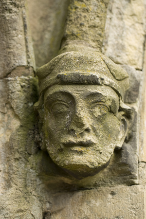 Stone carving on the exterior of Bridlington Priory, Bridlington, East Riding of West Yorkshire, UK - March 2014 Editorial