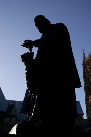 Lincoln, UK, 6th November, the Tennyson Memorial and Statue in the grounds of Lincoln Cathedral