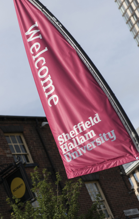 Banner at Sheffield Hallam University, Sheffield, UK - September 2013