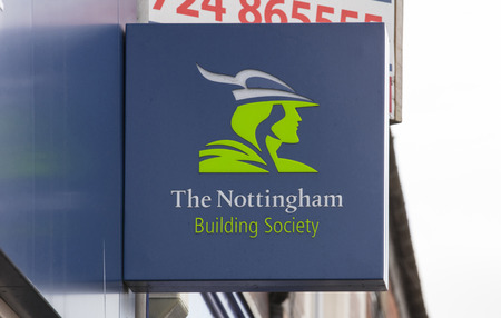 Nottingham Building Society sign on the high street - Scunthorpe, Lincolnshire, United Kingdom - 23rd January 2018 Foto de archivo - 124584601