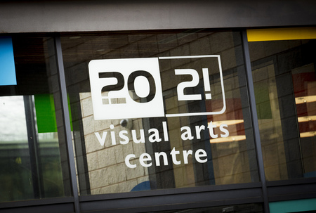 Entrance and Sign for the 20:21 Visual Arts Centre in Church Square - Scunthorpe, Lincolnshire, United Kingdom - 23rd January 2018