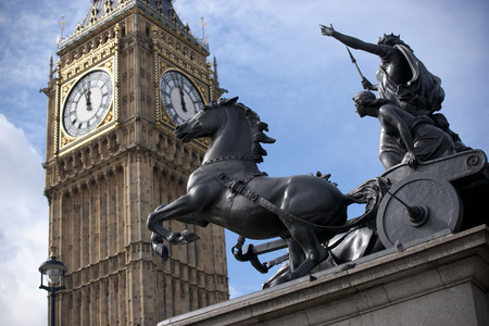 London, Greater London, UK, September 2013, statue of Boadicea and Her Daughters in Westminster