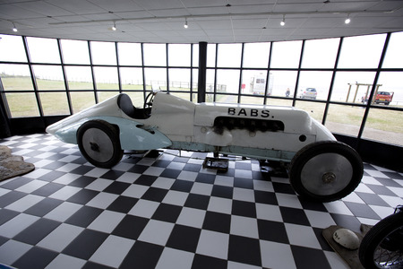 Babs, the recovered and restore Land Speed Record Car of John Parry-Thomas on display at the Museum of Speed, Pendine, Pendine Sands, Carmarthenshire, Wales in July 2014