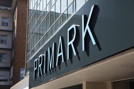 Coventry, Warwickshire, United Kingsom, June 27th 2019,  a sign for primark in the main square Editorial