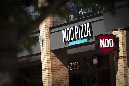 Coventry, Warwickshire, United Kingsom, June 27th 2019,  a sign for MOD Pizza