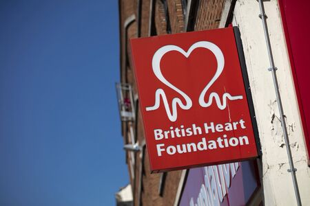 Coventry, Warwickshire, United Kingsom, June 27th 2019,  a sign for the British Heart Foundation Editorial