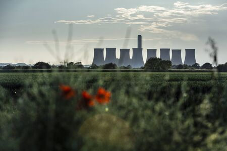 Cottam, Nottinghamshire, United Kingdom, June 2019, A view of Cottam Power Station in Nottinghamshire seen from Lincolnshire in the East