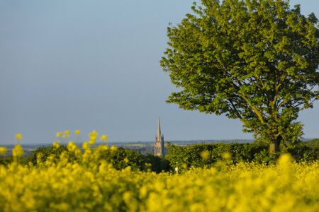 Louth, Lincolnshire, United Kingdom, May 2019, A view of the spire of St James Church in the town of Louth in the Wolds 報道画像