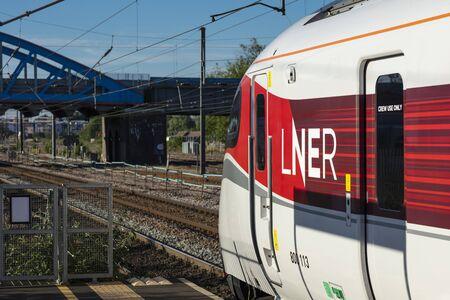 Peterborough, Cambirdgeshire, United Kingdom, July 2019, A view of an Azuma LNER train at Peterborough Station Editorial