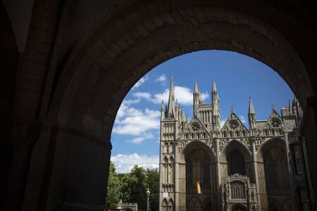 Peterborough, Cambridgeshire, United Kingdom, July 2019, A view of Peterborough Cathedral