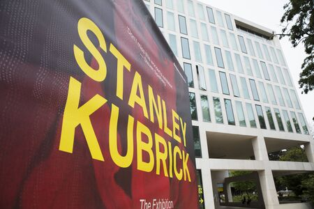 London, United Kingdom, 18th July 2019, Stanley Kubrick Exhibition banners outside the Design Museum in Kensington