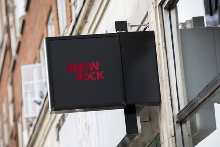 London, United Kingdom, 17th July 2019, Snow and Rock Sign in central london
