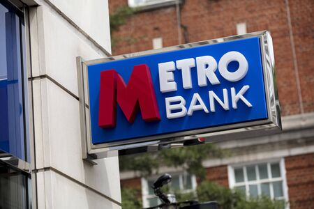London, United Kingdom, 17th July 2019, Metro Bank Sign in central london Stok Fotoğraf - 129508952