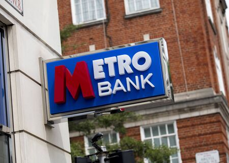 London, United Kingdom, 17th July 2019, Metro Bank Sign  in central london Editorial