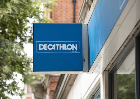 London, United Kingdom, 17th July 2019, Decathlon Sign  in central london Editorial