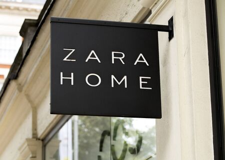 London, United Kingdom, 17th July 2019, Zara Home Sign  in central london Editorial