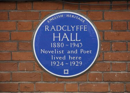 London, United Kingdom, 17th July 2019, Blue plaque to commemorate Radclyffe Hall Novelist and Poet Editorial