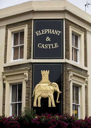 London, United Kingdom, 17th July 2019, Elephant and Castle Sign on a pub in  in central london Stok Fotoğraf - 129508964