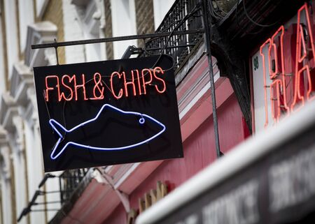 London, United Kingdom, 17th July 2019, Fish and Chips Sign in central london Stok Fotoğraf - 129508967