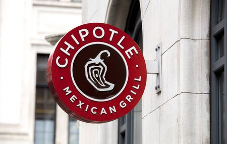 London, United Kingdom, 17th July 2019, Chipotle Mexican Grill Sign