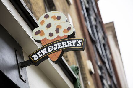 London, United Kingdom, 17th July 2019, Ben and Jerry's Sign Stok Fotoğraf - 129508972