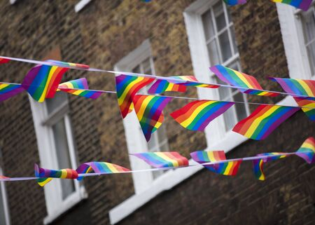 London, United Kingdom, 18th July 2019, Pride flags and bunting hung out in Soho in central london