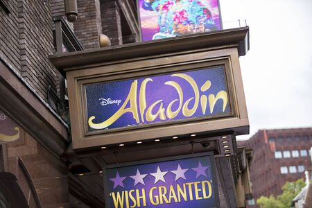 London, United Kingdom, 18th July 2019, entrance to the Prince Edward Theatre with signs for Aladdin