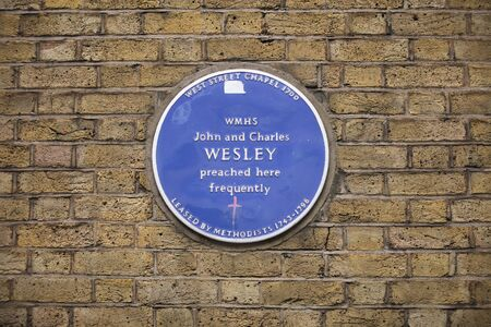 London, United Kingdom, 17th July 2019, Blue plaque to commemorate west stree chapel where john and charles wesley preached
