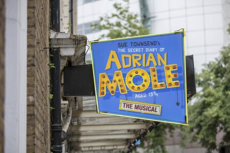 London, United Kingdom, 18th July 2019, entrance to the Ambassadors Theatre for the Secret Life of Adrian Mole Stok Fotoğraf - 129508990
