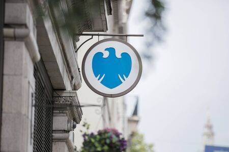 London, United Kingdom, 17th July 2019, Barclays Bank Sign Editorial